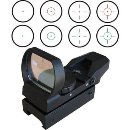 Green Reflex Sight with 4 Reticles